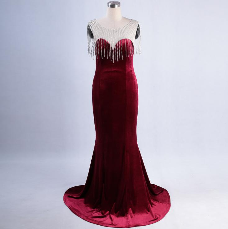 SVKSBEVS Illusion O Neck Luxury Crystal Tassel Mermaid Velvet Long Dresses Elegant Bodycon Backless Party Maxi Dress in Dresses from Women 39 s Clothing