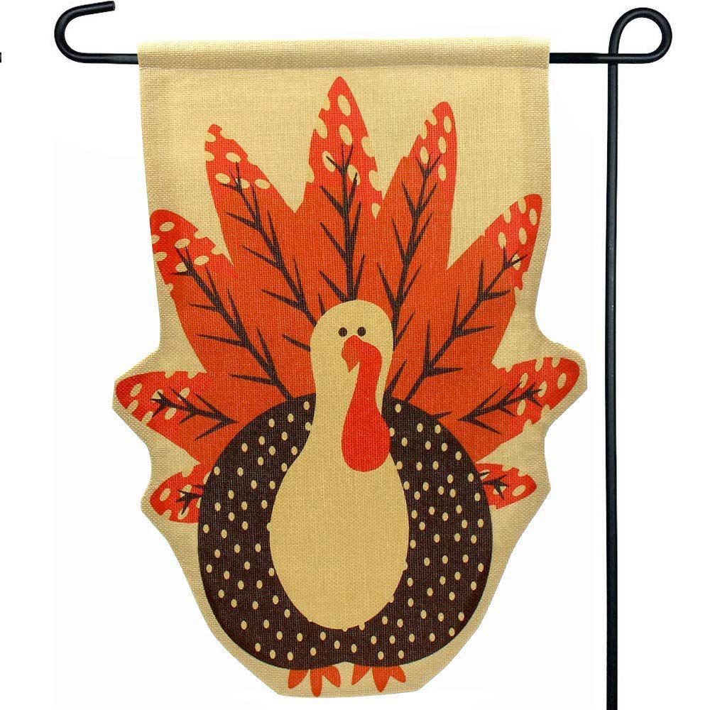 Home Decor For Sale: Hot Sale Thanksgiving Fall Turkey Burlap Garden Flag