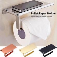 1 PC Muurbevestiging Roestvrijstalen WC Tissue Telefoon Beugel Badkamer Toilet Roll Paper Holder Opslag Plank Rek