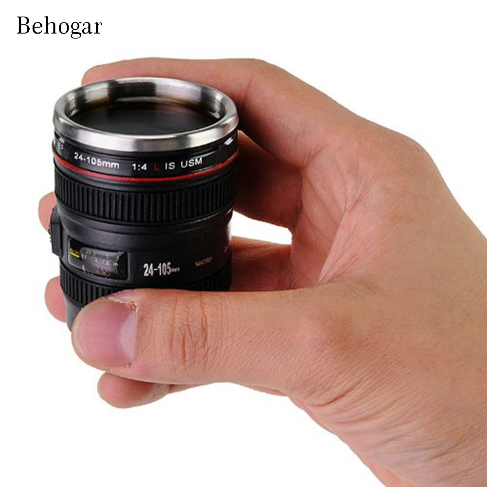 Behogar Mini Camera Lens Mug <font><b>Cup</b></font> 24-105mm 1:1 Coffee <font><b>Coffe</b></font> Tea <font><b>Cup</b></font> Travel Mug Stainless Steel with Key Chain Keyring Lid Copos image