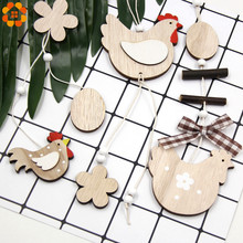 1PC DIY Cute Egg&Chick&Butterfly&Flower Wooden Easter Pendants Wood Crafts Happy Party Home Decoration Kids Toys Supplies