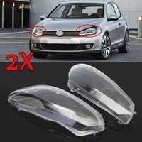 2Pcs Car Clear Headlight Headlamp Lenses Dust Cover Shell Plastic For VW For Volkswagen Golf 6 2010 2014 Front Head Light Cover