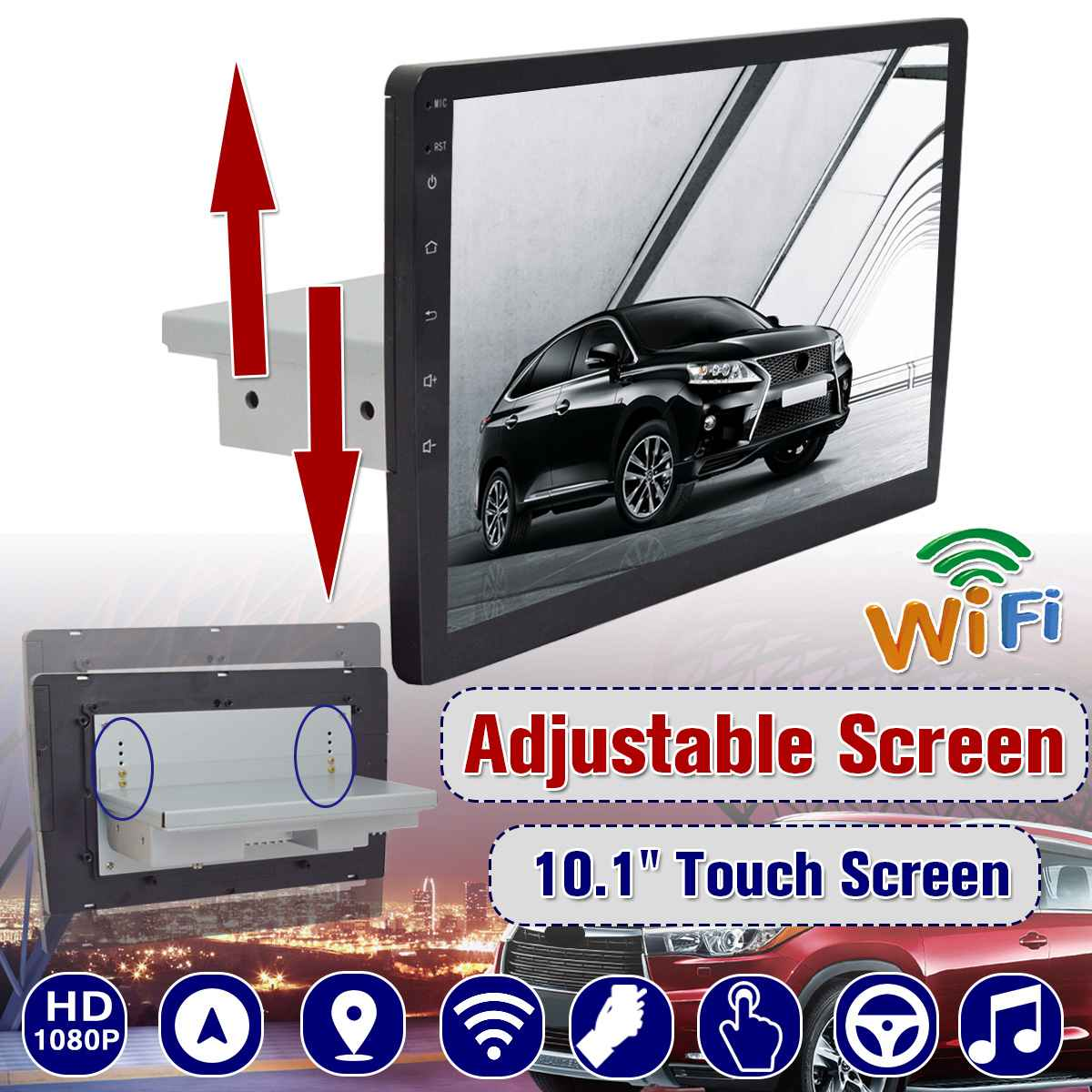 10 1Din Car Stereo Multimedia Player for Android 8.1 Up Down Moving Adjustable Screen GPS Nav Wifi MP5 Player Video Radio image