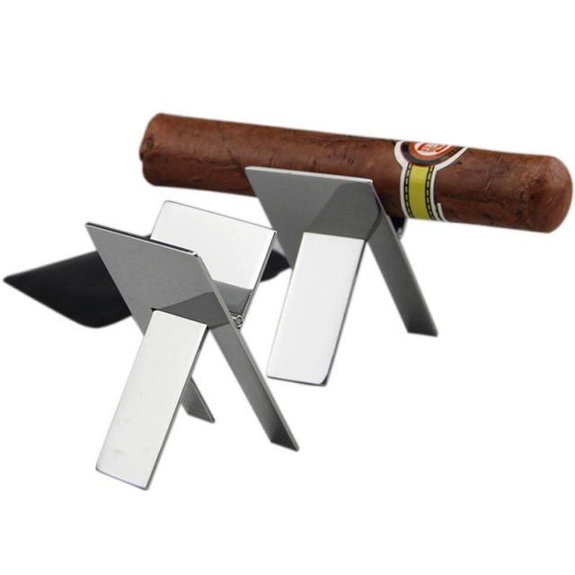 1 pz Pratico Gadget Cigar Ashtray Holder PortableStainless Acciaio Inox Pieghevo
