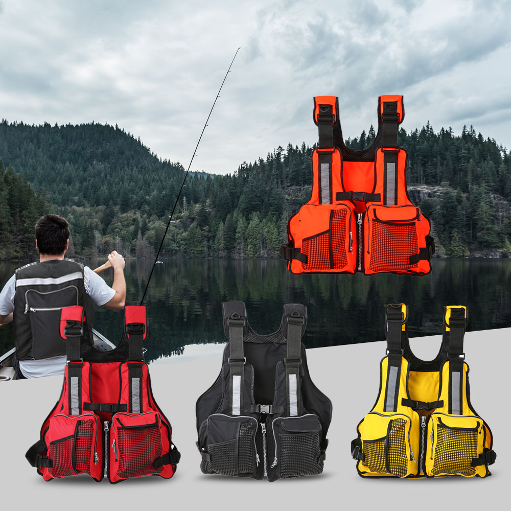 Lixada Multi Pockets Fishing Life Jacket Vest Sailing Kayaking Boating Jacket Waistcoat 165 Lbs Life Jacket Life Vest 4 Colors