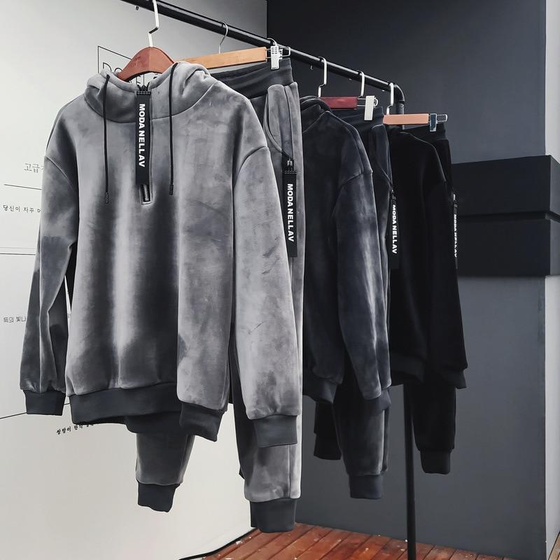 Hommes ensemble 2018 hiver nouveau plus or velours épaissir chaud à capuche sweat streetwear hoodies + pantalon deux pièces ensemble hommes costumes - 5