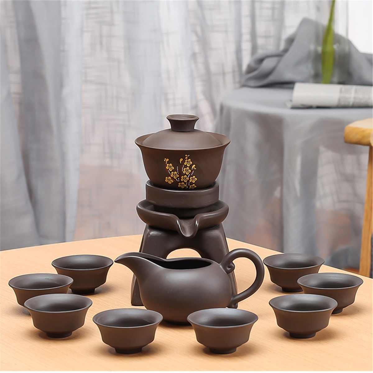 9 pièces chinois Kung Fu thé ensemble porcelaine théière Pot tasse élégante bouilloire bois plateau de support infuseur pichet violet argile