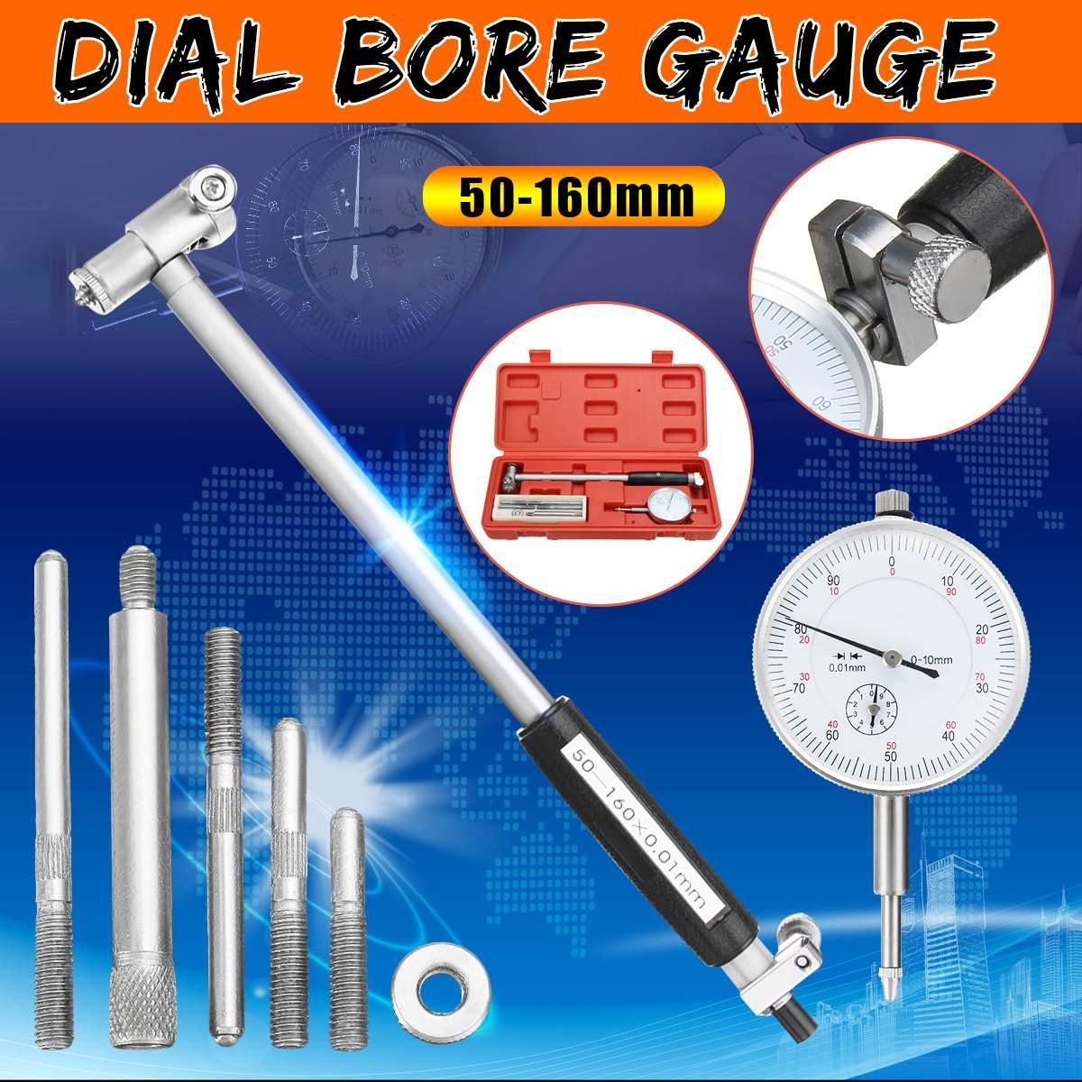 50-160 milímetros 0.01 milímetros Metric Dial Medidor Furo Interno Do Cilindro Pequeno Dentro da Sonda de Medição Dial Indicator Calibre Precisão medição