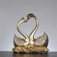 Silver Romantic Resin Swan Couple Figurine Miniature Animal Statue Home Ornaments Decor Wedding Gift Sculpture Living Room Decor