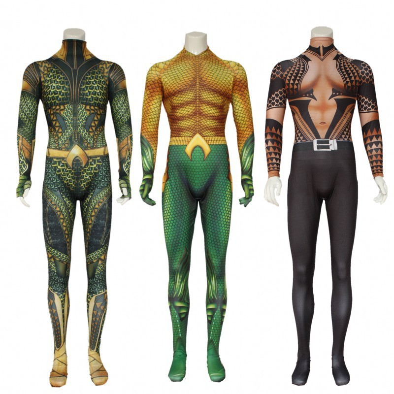 Aquaman Cosplay Costume Adult Arthur Curry Zentai Bodysuit DC Superhero Halloween For