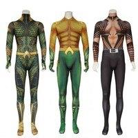 Aquaman Cosplay Costume Adult Arthur Curry Cosplay Zentai Bodysuit DC Superhero Halloween Costume For Adult