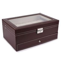 Hot 12 Slots Watch Box Mens Watch Organizer Pu Leather Case With Jewelry Drawer For Storage And Display Brown