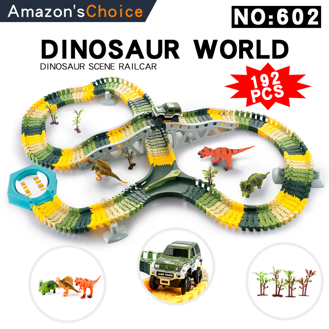 Plastic Dinosaur Toys DIY Glowing Race Car Track cartree cave dinosaurs Magical Educational Toys for Children for Electronic Car