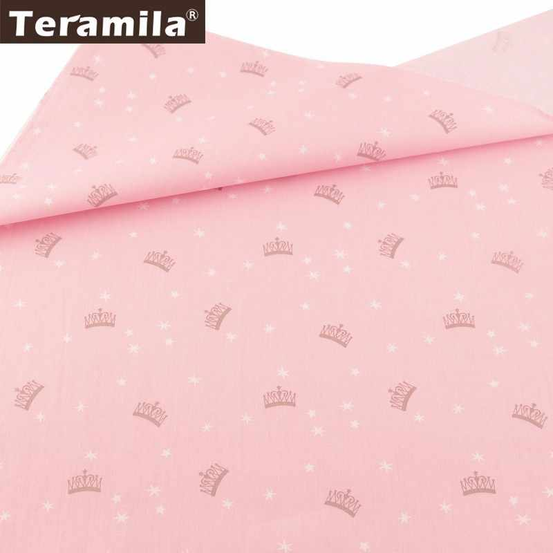 Teramila Pink Tela Twill Sewing Material 100% Cotton Fabric Meter Textiles DIY Tissus Printed Crown Style Patchwork Boneca Tilda