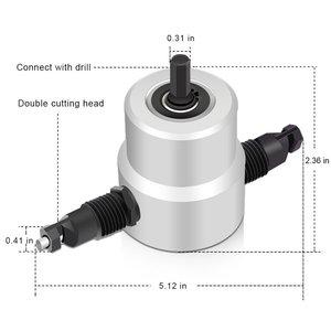 Image 5 - Kim loại Máy Cắt Đôi Đầu Tấm Nibbler Kim Loại Cutter Khoan Tập Tin Đính Kèm 360 Độ Có Thể Điều Chỉnh Kim Loại Máy Cắt Điện