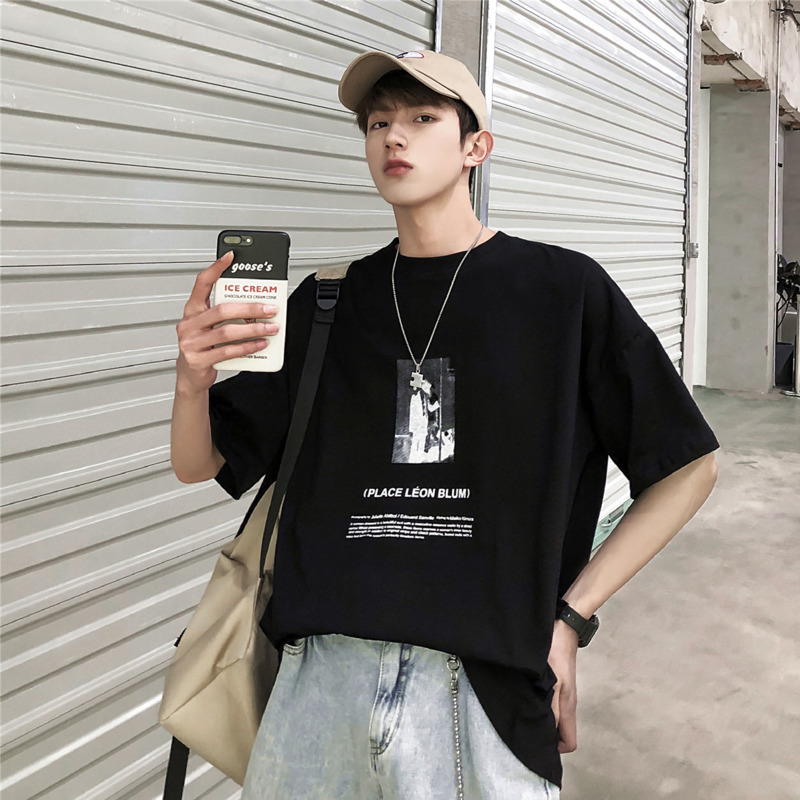 2019 New Spring And Summer Fashion Trend Korean Couple Leisure Harajuku Cotton Short-sleeved T-shirt Streetwear Time Limited