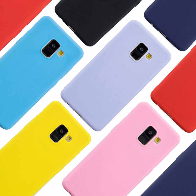 Color caramelo funda de silicona para Samsung Galaxy A6 A8 A7 J4 J6 J8 2018 J3 J5 J7 A3 A5 2017 2016 S9 S8 más S7 S6 borde cubierta suave