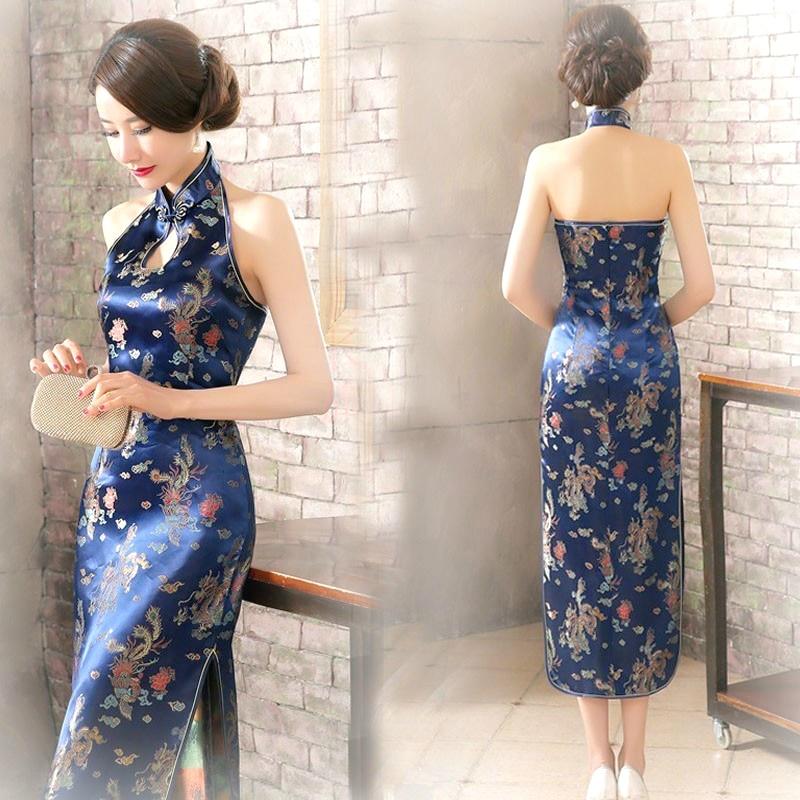 16 Color Backless Chinese Qipao Dresses Sleeveless Long Pink Halter Stretch Cheongsam Gold Elegant Dress Women Guzheng Plus Size