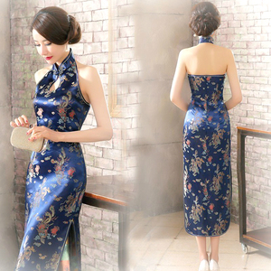 Image 1 - 16 צבע ללא משענת סיני Qipao שמלות שרוולים ארוכים ורוד הלטר למתוח Cheongsam זהב אלגנטי שמלת נשים Guzheng בתוספת גודל