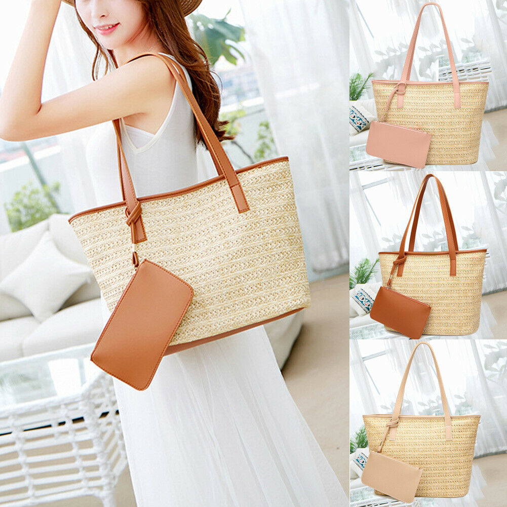 Luggage & Travel Bags New Women Straw Woven Bag Bohemian Rattan Wicker Holiday Zipper Bag Beach Crossbody Casual Travel Bags