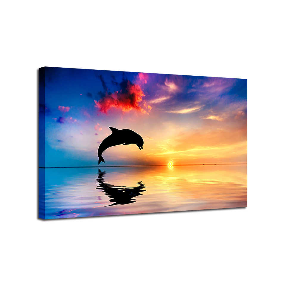 HD Prints Painting 1 Piec Dolphins Jump Out Of The Sea Poster Home Decor Sunset Seascape Pictures Wall Art  Shipped 24 Hour