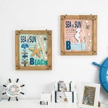 Средиземноморский стиль фон настенная группа повесить живопись ребенок лаконичный 3D картина Холл ресторана плоская картина Морской Декор