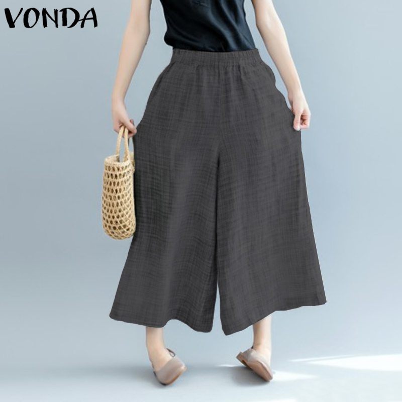 VONDA Women Wide Leg Pants 2018 Autumn Spring Female Elastic High Waist Casual Loose Solid Pockets Trousers Plus Size Bottoms