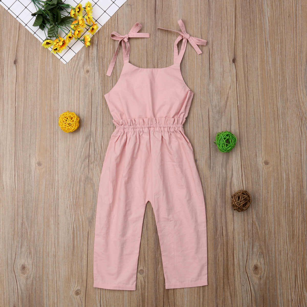 Newborn Kid Baby Girl Ruffle Pants Romper Overalls Cotton Outfits Strap Clothes