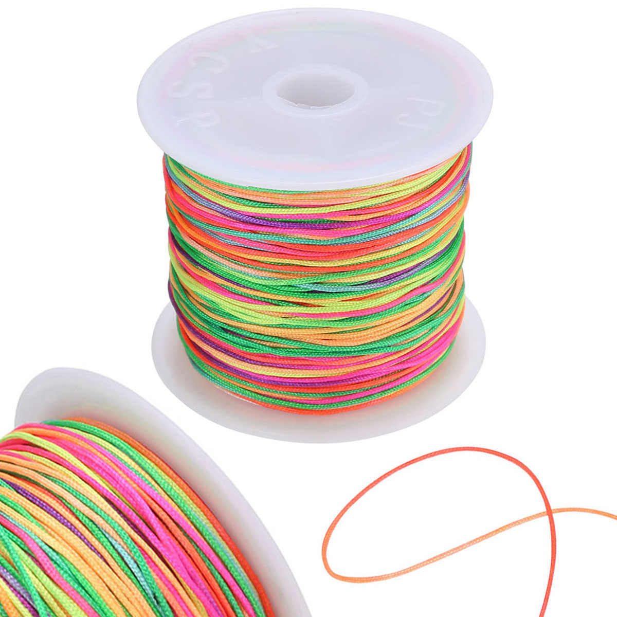 45M/Roll 0.8mm Multicolor Thread Chinese Knot Cord Nylon Cord Macrame Rattail Bracelet Braided String Knitting Yarn Rope