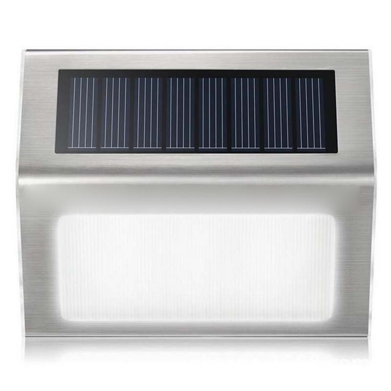 Solar Garden Lights Outdoor Solar Lights Stainless Steel 3LED Solar Stair Lights Energy Saving Wall Lamp