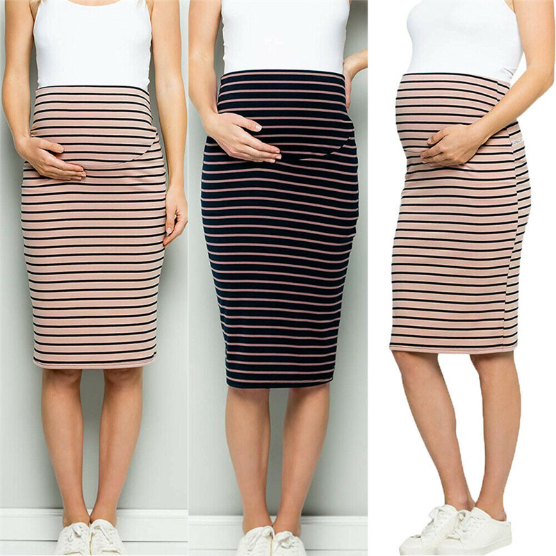Women Maternity Comfort High Waisted Tummy Stripe Pencil Skirt Pregnant Women Corset Striped Skirt Maternity Pregnant Clothes