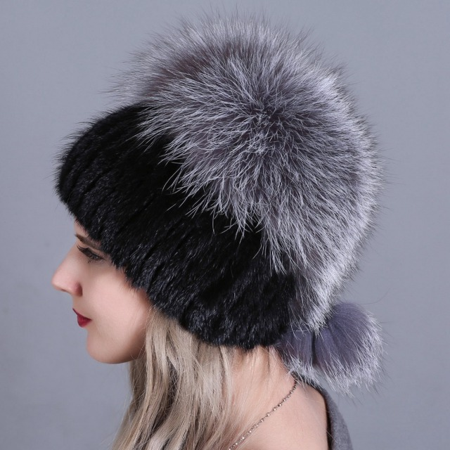 684c2c6a816 Knitted Fur Hat Women 2018 New Female Fur Hat Woman Winter Ski Cap Warm  Protection Ear Mink Fox Fur Beanies Hair Handmade HAT888