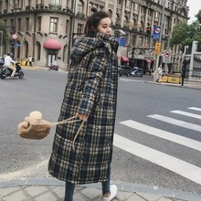 Winter Women Loose Long Coat Jacket Plaid Thick Warm Women Parkas Cotton Padded Wadded Parkas Casaco Feminino