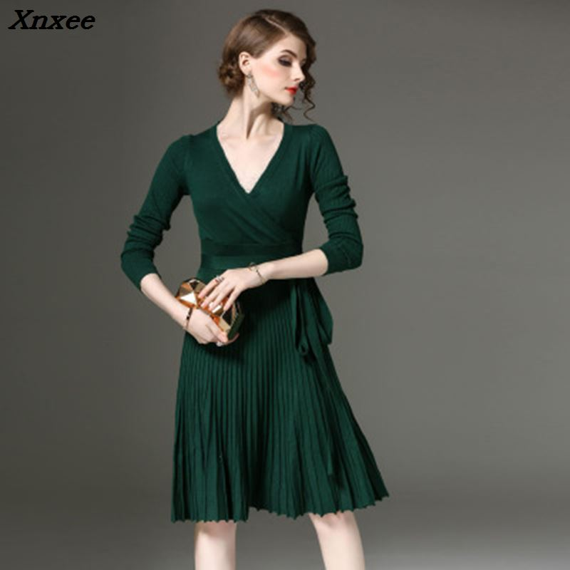 Elegant dress vintage sexy slim V neck long sleeves with sashes knitted solid dress summer autumn woemn party dresses Xnxee in Dresses from Women 39 s Clothing