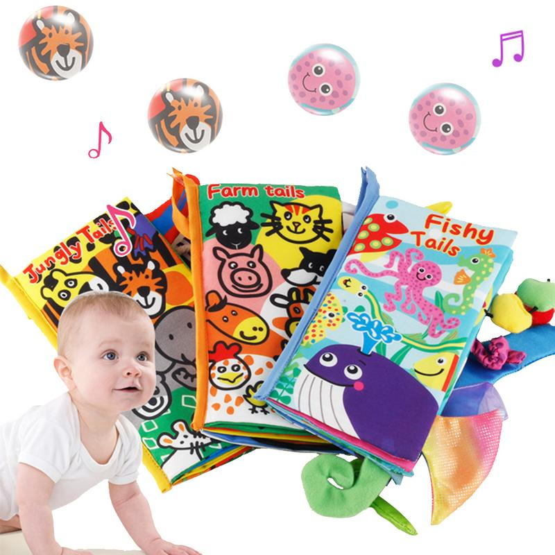 6 Styles Baby Touch Stereo Soft Cloth Book Animal Tails Sensory Stimulation Cloth Book Newborn Early Childhood Educational Toys