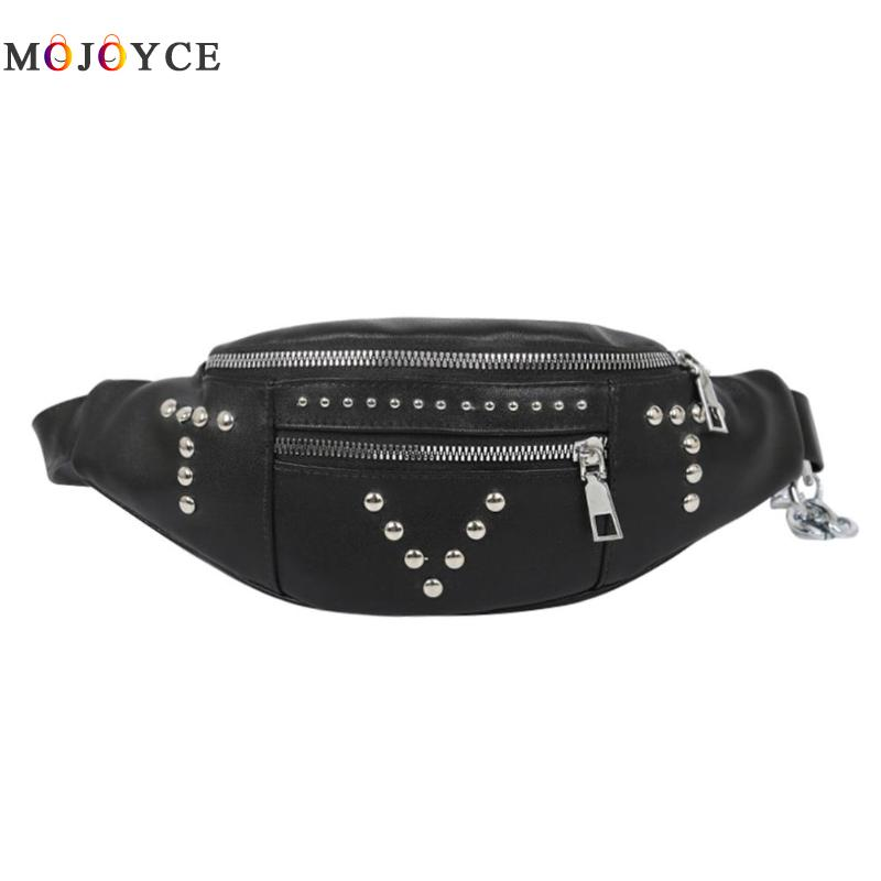 Women Waist Bag New Fashion Chest Bum Bag PU Leather Rivet Crossbody Fanny Pack