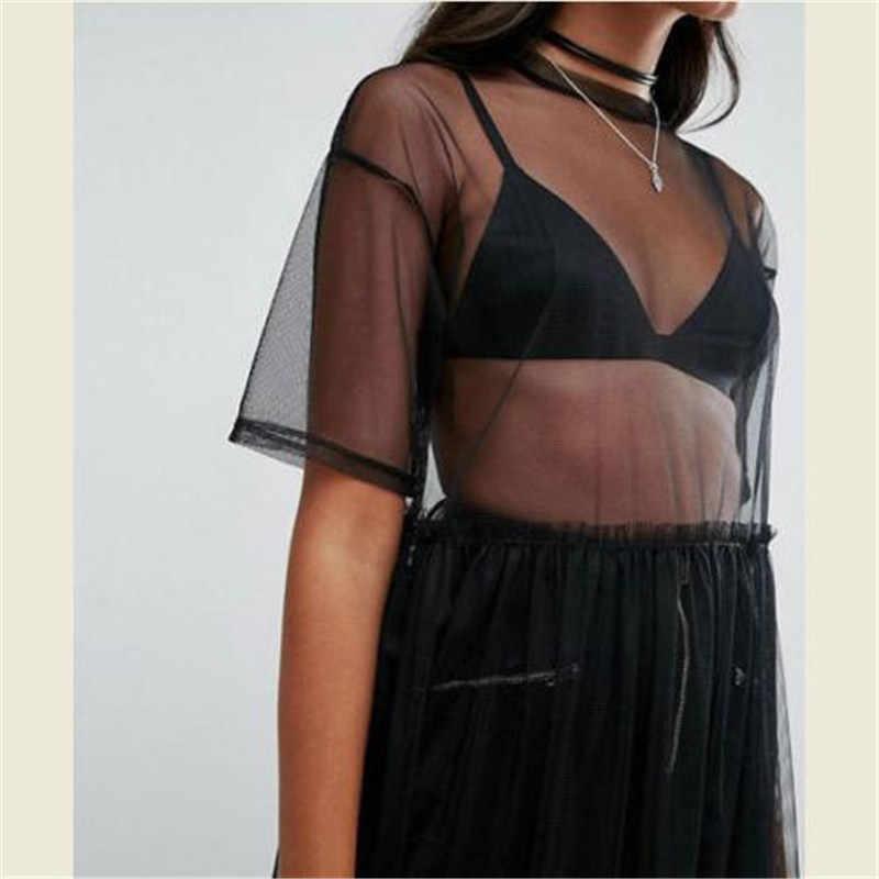 Najnowszy 2018 Sexy T koszula kobiety czarny gaza Mesh Top Sheer długie koszule na co dzień luźne t-shirty przezroczyste bluzki
