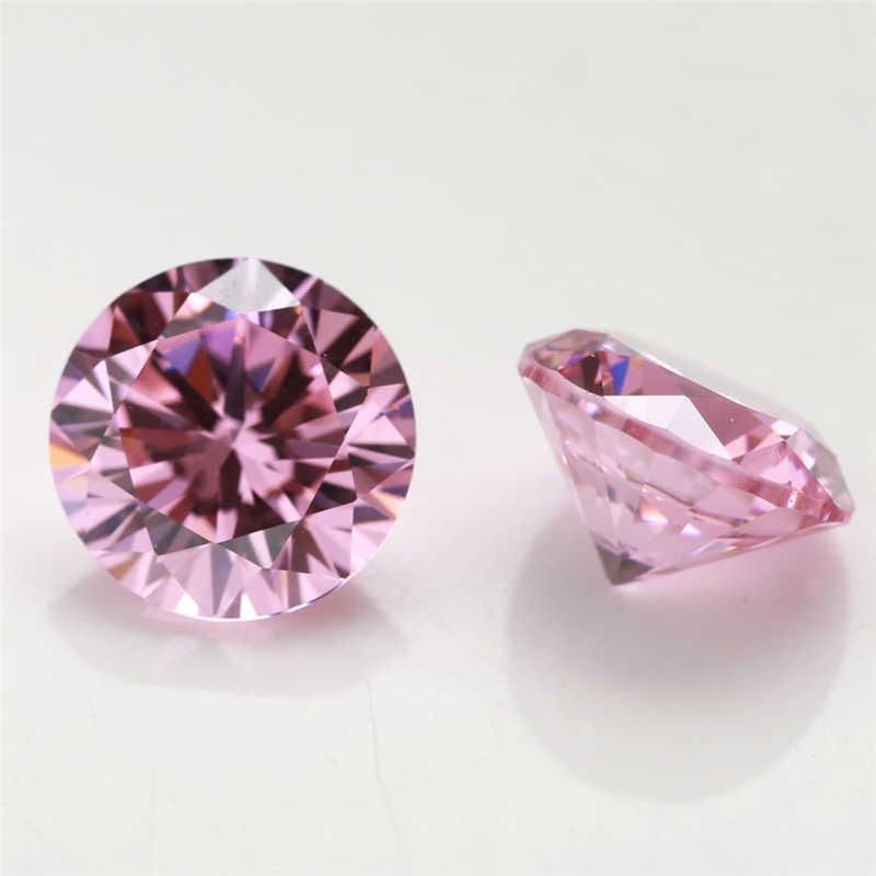 10 יח'\חבילה 4.0 ~ 20mm צורה עגולה Loose CZ אבן ורוד צבע AAAAA מעוקב zirconia סינטטי אבני חן לתכשיטים DIY אבן