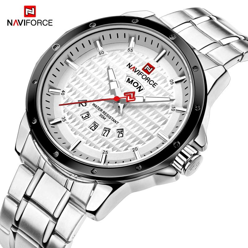 NAVIFORCE Fashion Men Sports Watches Luxury Brand Analog Quartz Wrist Watch Stainless Steel Waterproof Clock Relogio