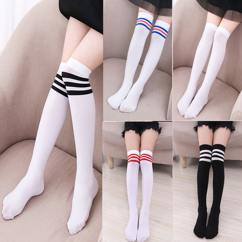 Fashion Thigh High Over Knee High Socks For Girls Womens Students Striped Cotton Long Stockings Black White Striped Sailor Socks