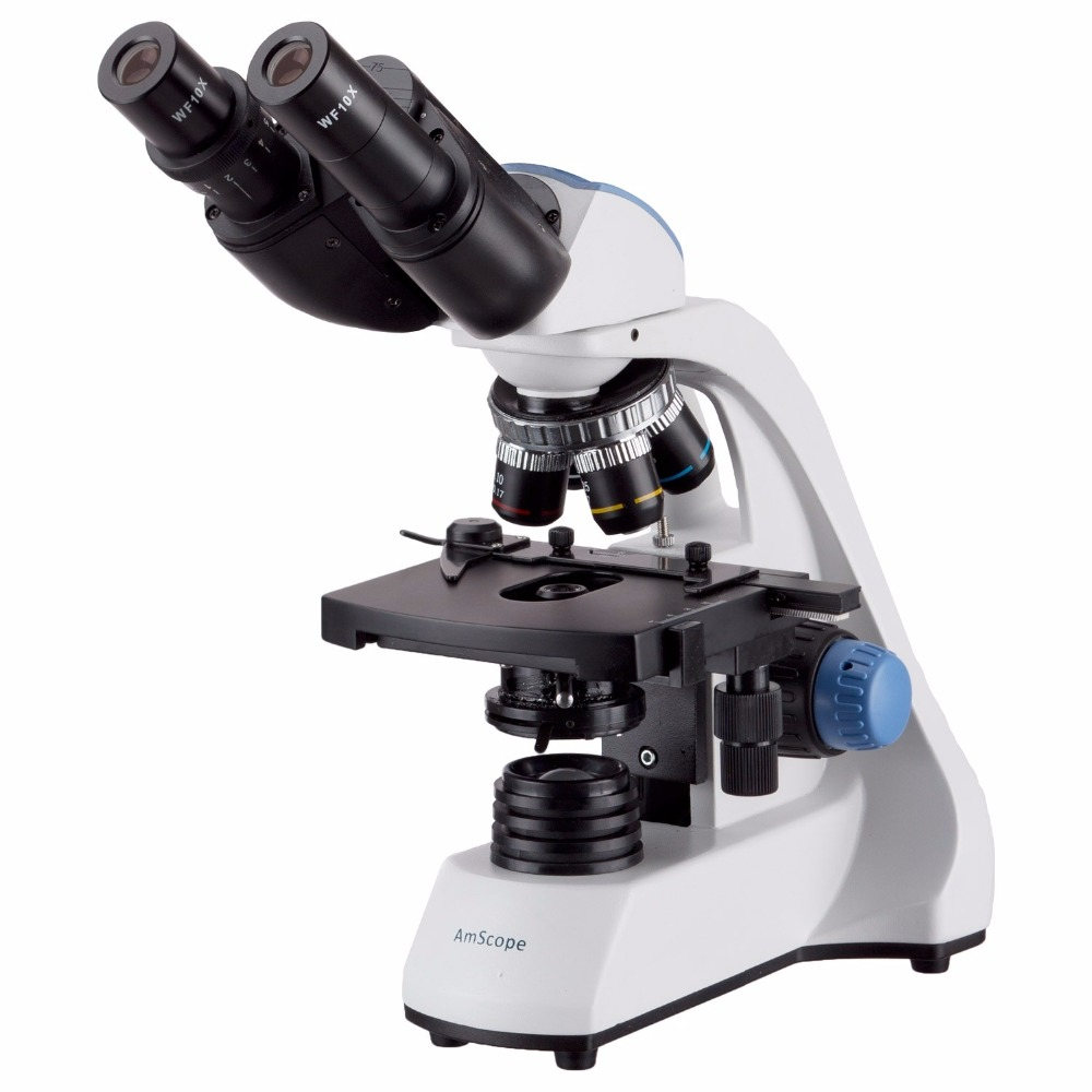 AmScope 40X-2000X LED Binocular Compound Microscope W 3D Two-Layer Mechanical Stage