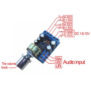 Image 3 - TDA2822 TDA2822M מיני 2.0 ערוץ 2x1W סטריאו אודיו מגבר כוח לוח DC 5V 12V רכב נפח בקרת פוטנציומטר מודול