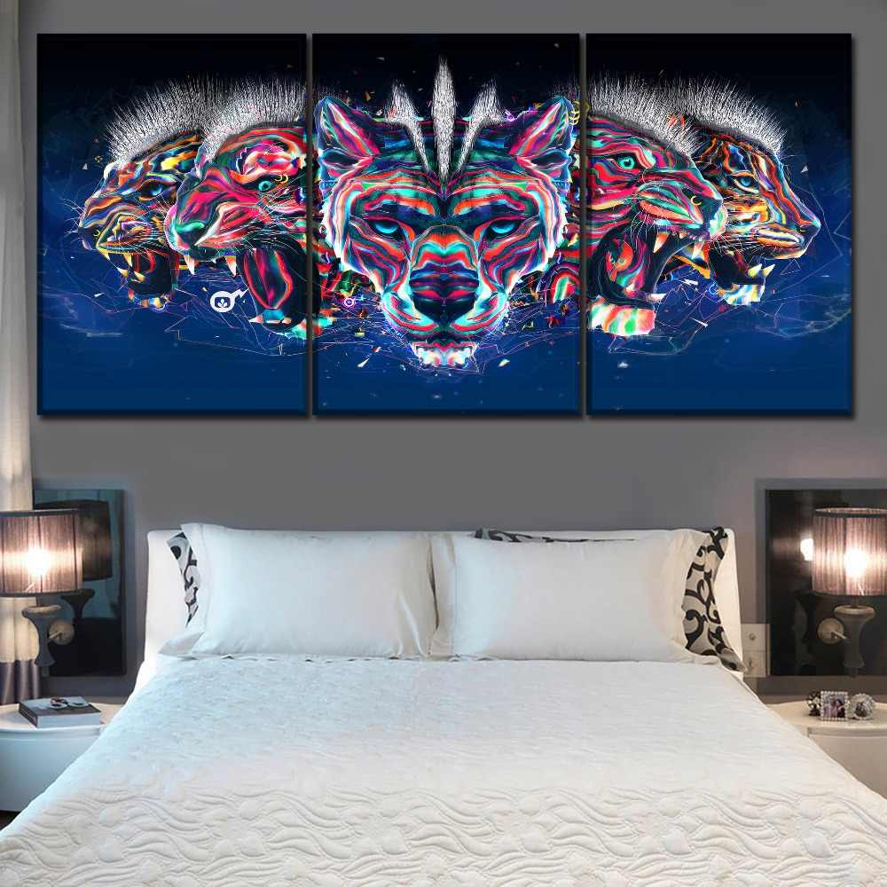 Canvas Print One Set Modular Picture 3 Panel Abstract Artistic 3D 7 Color Animal Leopard Tiger Lion Poster Wall Art Home Decor