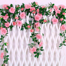 Artificial Flowers Silk Rose Flower With Ivy Vine For Home Marriage Events Decor Wedding Decoration