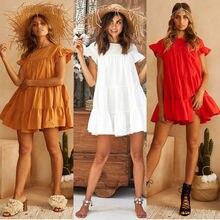 Повседневное мини-платье женское Хлопковое платье с оборками и коротким рукавом однотонное красное свободное платье летняя одежда