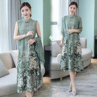 Hot Sale 2019 Summer Autumn New Chinese Style Retro Stand Collar Dress Temperament Long Flower 2 Piece Set Silk Female Dresses