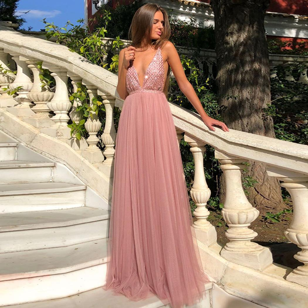 AL'OFA Women Sexy   Evening     Dresses   V-neck Sleeveless A-line Pleated Backless Long Formal   Dress   Ladies Party Gowns