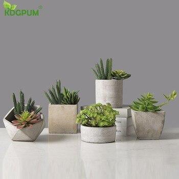 Bahçe yaratıcı çimento geometrik saksı Maceteros etli saksı saksı bitki ekici masaüstü Bonsai saksıları ev dekorasyon