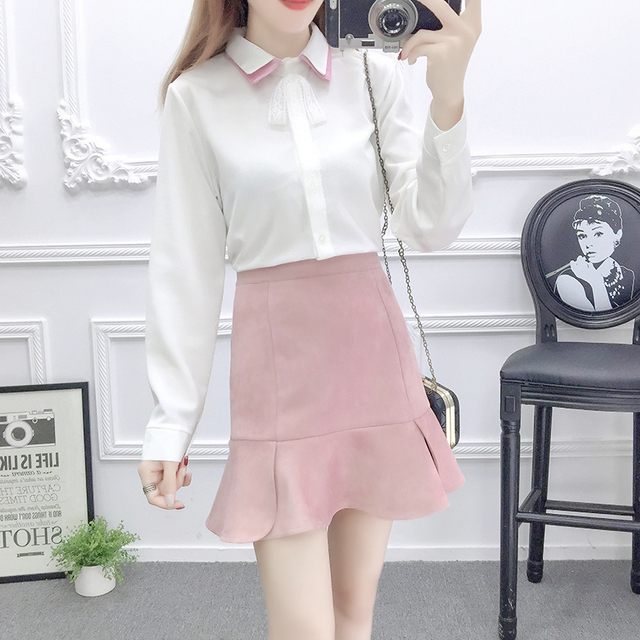 0cfce464d8 autumn shirt Tall waist faux suede bust skirt suit casual outfit women  vestido top clothes two piece clothing set girl S M L