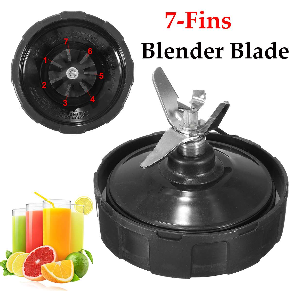Stainless Steel Silver Blenders Parts 7 Fins Blade Replacement Blenders Parts For NUTRI NINJA BL450 Auto-iQ BL481 BL482
